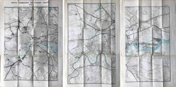 Trio of 1904 fold-out MAPS produced for the Royal Commission on London Traffic and showing Principal