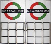 London Transport enamel BUS & COACH STOP FLAG (compulsory). A 1950s/60s 'bullseye'-style, E9-size,