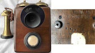 c1920s GPO (General Post Office) 121L-type TELEPHONE in original wooden case designed for wall-