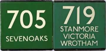 Pair of London Transport coach stop enamel E-PLATES for Green Line routes 705 destinated