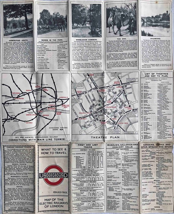 """1923 London Underground MAP of the Electric Railways of London """"What to see and how to travel"""". - Image 2 of 2"""