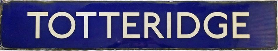 London Underground enamel PLATFORM SIGN from Totteridge station on the Northern Line. This ex-LNER