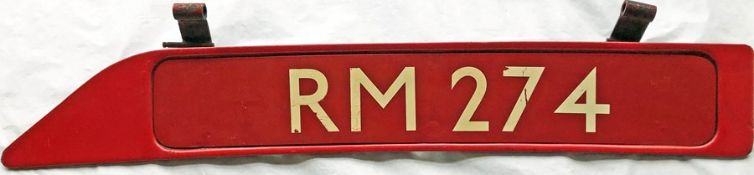 London Transport Routemaster bonnet FLEETNUMBER PLATE from RM 274. The original RM 274 entered