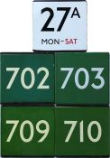 Selection (5) of London Transport bus or coach stop enamel E-PLATES comprising bus route 27A Mon-Sat