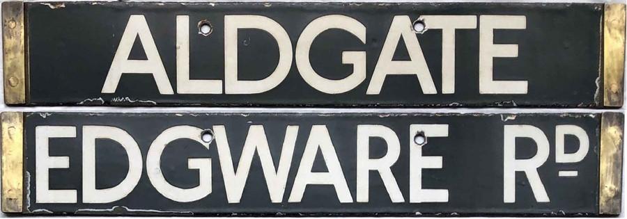 London Underground enamel O/P/Q-Stock CAB DESTINATION PLATE 'Aldgate / Edgware Rd' from the