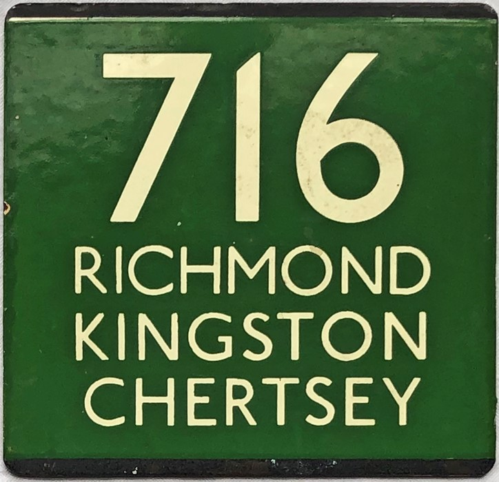 London Transport coach stop enamel E-PLATE for Green Line route 716 destinated Richmond, Kingston,
