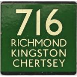 London Transport coach stop enamel E-PLATE for Green Line route 716 destinated Richmond, Kingston,