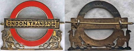London Transport Tramways District Inspector's solid-silver and enamel CAP BADGE with 'gold'-plating