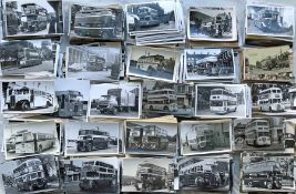 Large quantity (approx 1,800) of b&w, mainly postcard-size BUS, COACH, TRAM & TROLLEYBUS PHOTOGRAPHS