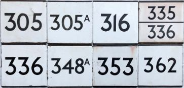 Selection (8) of London Transport bus stop enamel E-PLATES comprising routes 305, 305A, 316, 335/