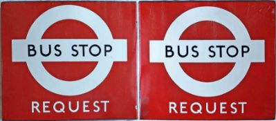 1950s/60s London Transport enamel BUS STOP FLAG, the 'request' version. A double-sided, hollow, '