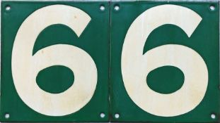 Pair of British Railways (Southern Region) enamel CAR STOP SIGNS, both are no 6. In good, ex-use