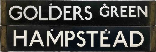 London Underground 1938-Tube Stock enamel CAB DESTINATION PLATE for Golders Green / Hampstead on the