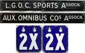 Pair of London Transport buses staff association noticeboard enamel HEADER PLATES, the first