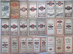 Quantity (25) of 1911 onwards London Bus POCKET MAPS comprising LGOC issues dated from Oct 1911 to
