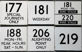 An interesting selection (6) of London Transport bus stop enamel E-PLATES comprising 177 Special