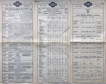 Trio of 1923/24 Metropolitan Electric Tramways (Underground Group) tram stop PANEL TIMETABLES