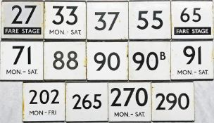 Selection (14) of London Transport bus stop enamel E-PLATES comprising 27 Fare Stage, 33 Mon-Sat,