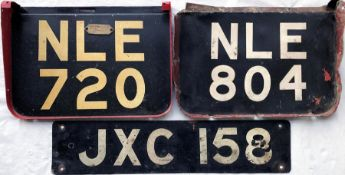 Trio of London RT/RTL bus REGISTRATION PLATES + a CHASSIS TAG comprising the rear plate NLE 720,