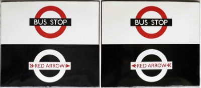 London Transport enamel BUS & RED ARROW STOP FLAG. These were used from the late 1960s until the
