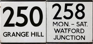 Pair of London Transport bus stop enamel E-PLATES, the first for route 250 destinated Grange Hill (