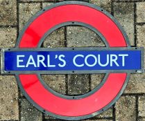 London Underground enamel PLATFORM ROUNDEL from Earl's Court Station on the District and