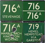 Selection (4) of London Transport coach stop enamel E-PLATES comprising 716A destinated Stevenage (
