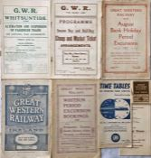 Selection (7) of 1920s/30s Great Western Railway (GWR) TIMETABLES/PUBLICITY BROCHURES comprising