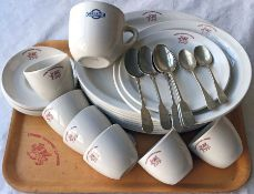 Selection of London Transport & LGOC CROCKERY & CUTLERY as used in bus garage & Underground