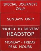 Selection (4) of London Transport bus stop enamel G-PLATES comprising Special Journeys Only, Sundays