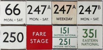 Selection (8) of London Transport bus stop enamel E-PLATES comprising 66 Mon-Sat, 247A Mon-Sat, 247A