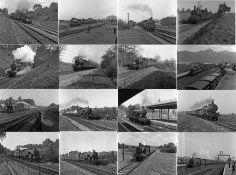 Quantity (100) of 1950s b&w STEAM RAILWAY NEGATIVES (120-size, 6cm x 4.5cm) taken by the railway