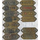 Selection (13) of London Transport brass VEHICLE TAGS, mainly Routemaster, and comprising tags for