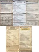 Selection (4) of London Transport TROLLEYBUS FARECHARTS comprising single-sided, paper issues for