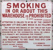 Cardiff Railway ENAMEL SIGN 'Smoking in or about this warehouse is prohibited - by order T.N. Rosser