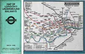1926 London Underground linen-card POCKET MAP from the Stingemore-designed series of 1925-32. This