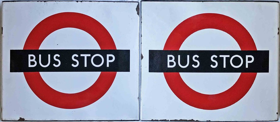 1950s/60s London Transport enamel BUS STOP FLAG, the 'compulsory' version. A double-sided,