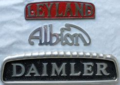 Selection (3) of 1950s/60s cast-alloy BUS RADIATOR BADGES comprising Leyland, Daimler and Albion.
