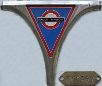 London Transport Routemaster perspex GRILLE BADGE, of the type fitted from 1965 onwards, complete