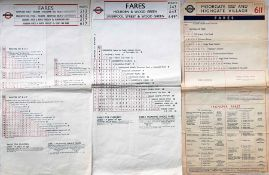 Trio of London Transport TROLLEYBUS FARECHARTS, single-sided, paper issues comprising routes 513/