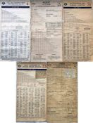 Selection (5) of London Transport Tramways FARECHARTS, all single-sided, and comprising paper issues