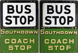 1950s/60s Southdown Motor Services enamel, combined BUS & COACH STOP FLAG consisting of a generic