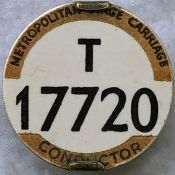 London Tram & Trolleybus Conductor's METROPOLITAN STAGE CARRIAGE BADGE T 17720. Equivalent to PSV