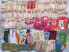 Large quantity (150+) of 1920s-1970s London Transport POCKET MAPS (mainly bus), LEAFLETS,