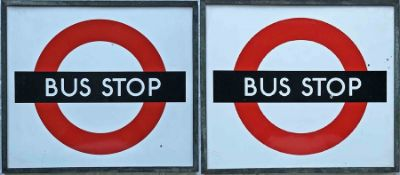 1940s/50s London Transport enamel BUS STOP FLAG, the 'compulsory' version. Double-sided with two