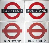 Pair of London Transport enamel BUS STOP FLAGS, both are unusually lettered 'Bus Stand' for