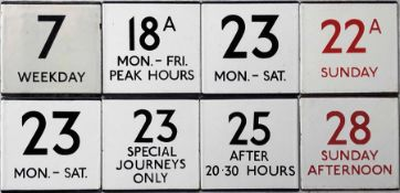An interesting selection (8) of London Transport bus stop enamel E-PLATES comprising 7 Weekday,