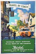 1950s Bristol Tramways & Carriage Company double-crown POSTER 'Travel by Coach' by Frederick