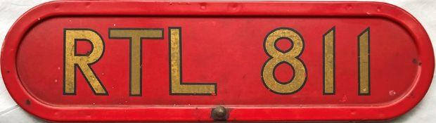 London Transport RTL bus BONNET FLEETNUMBER PLATE from Metro-Cammell RTL 811. The original RTL 811