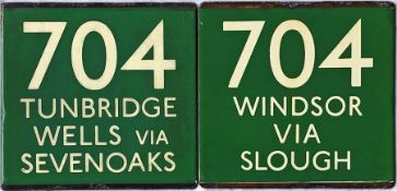 Pair of London Transport coach stop enamel E-PLATES for Green Line route 704, one in each direction,